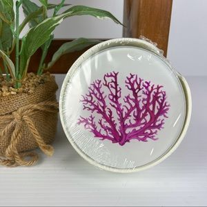 Set of 6 Coral Glass Coasters in Case